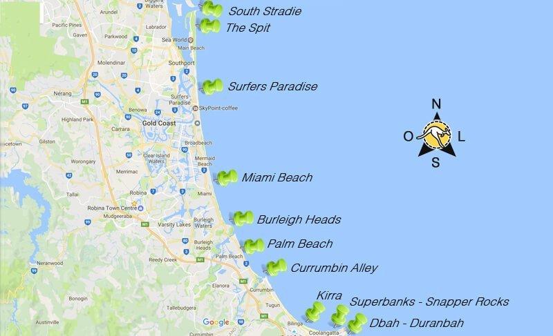 Surfe na Gold Coast Austrália - Grafico das praias