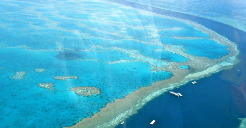 vista aérea da barreira de corais